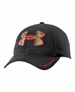 black under armour hat with camo logo