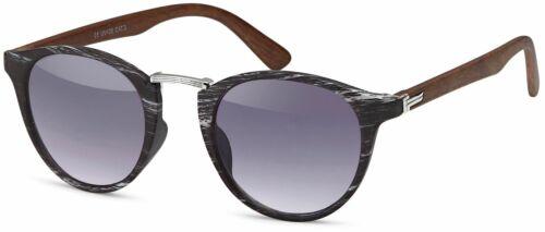 Unisex Sonnenbrille in Holz Optik und runden Gläsern Kunststoff-Metall-Gestell