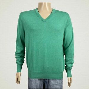 Brooks Brothers V-neck Pullover Sweater LARGE Men's Green Soft Supima Cotton