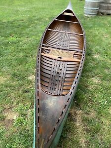 1936 Old Town Sailing Canoe w/ Certificate 18ft Vintage Antique Wooden Boat