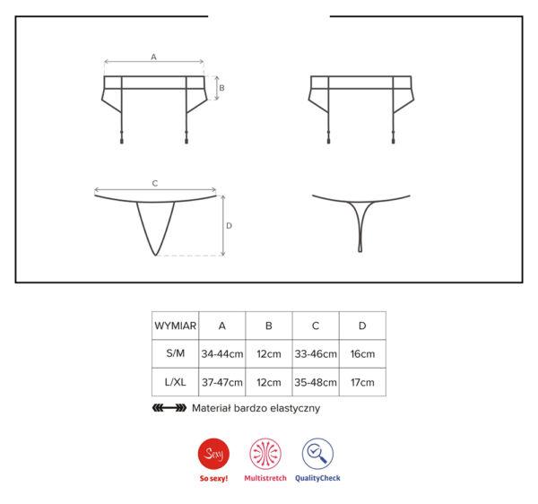 Strapsgürtel-Set + String Strumpfhalter, Garter Belt, S/M, L/XL schwarz Spitze