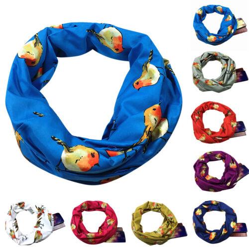 Women Men Loop Scarf Infinity Wrap Hidden Zipper Pocket Warm Travel Scarves  XI
