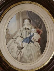 SUPERB-Mother-and-child-hand-colored-salt-print-framed-large