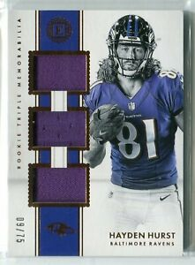 reputable site a2bf8 f77c5 Details about 2018 Panini Encased Hayden Hurst TRIPLE JERSEY RELIC RC 9/75  RAVENS