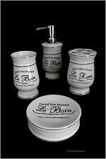 Distressed 4pc Black & White Vintage French Paris Hotel Bathroom Accessory Set