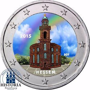 Deutschland-2-Euro-2015-Paulskirche-Bundesland-Hessen-Gedenkmuenze-in-Farbe