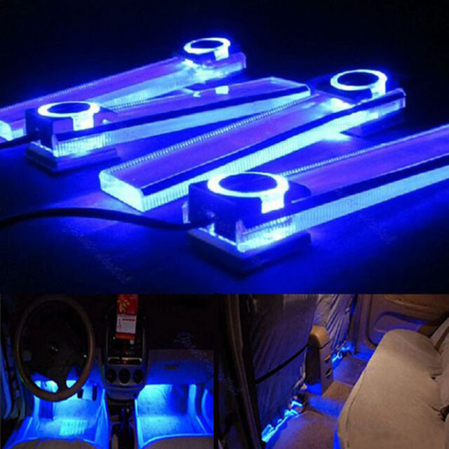 12V 4 in 1 Car Charge LED Interior Floor Decorative Light Lamp Blue   Excellent