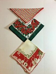 Vintage-Lot-Of-3-Christmas-Napkins-Linen-Poinsettias-Merry-Christmas-Holly-Berry
