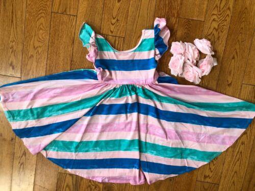 NWT Dot Dot Smile Twirly Summer dress Girls Empire Pastel Stripes