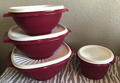 Tupperware Servalier Bowls Set of Four Plum 2 4 8 Cups New 6