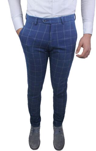 Invernali Uomo Diamond Jeans Blu Quadri Sartoriali Pantaloni Casual Eleganti 8w1vd8q
