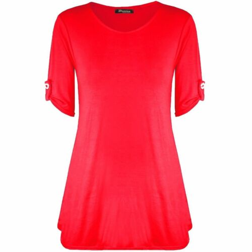WOMENS LADIES TURN UP BUTTONED SLEEVE SWING MINI DRESS TUNIC TOP PLUS SIZE 8-26