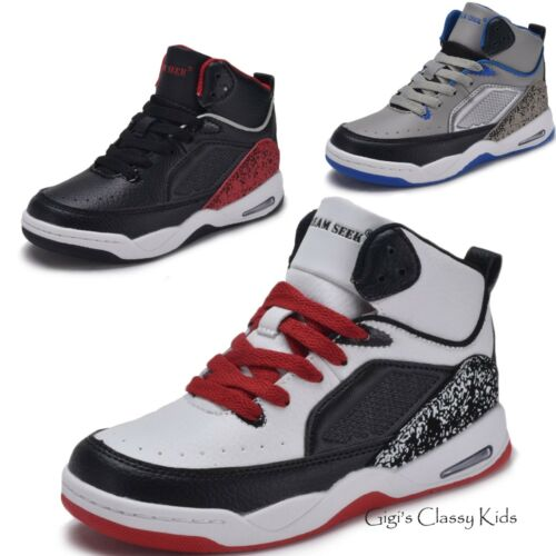 Nuevos Chicos Chicas High Top Zapatillas Tenis Zapatos de baloncesto Atlético Juventud Niños Nuevo