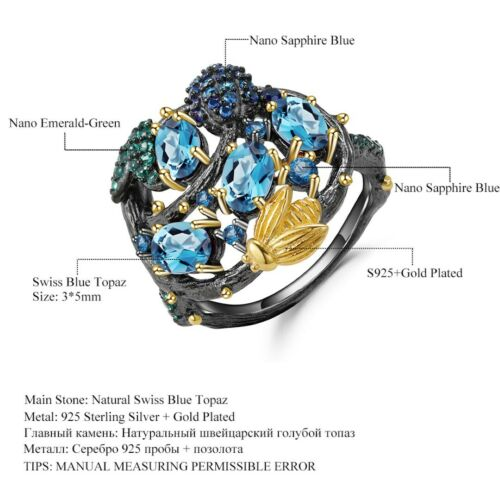 Natural Swiss Blue Topaz Gems solid 925 Sterling Silver Gold Bee sur Branch Ring