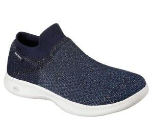 Details zu NEU SKECHERS Damen Sneakers Turnschuhe Slip On Casual GO STEP LITE FLAIR Blau