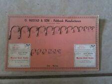 Vintage O. Mustad & Son Beak Fishing Hook Dealer Display Card (31M)