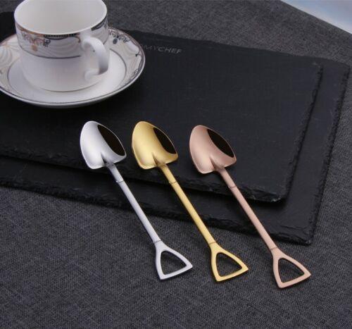 Coffee Dessert Spoon Gift Stainless Steel Silver Shovel Shaped Metal Teaspoon