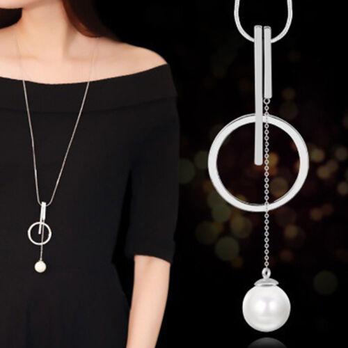 Femmes Trendy Perles Collier Pendentif Simple cercle collier long pull chaîne