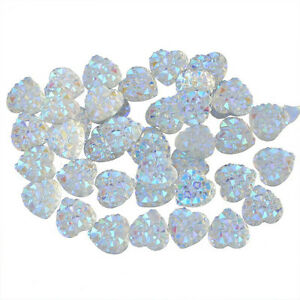 Hot-Silver-Heart-Shape-100Pc-Charms-Faced-Flat-Back-Resin-Beads-Hand-made-10mm