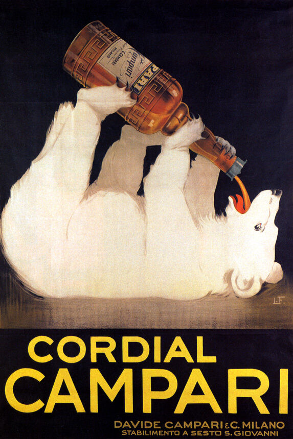 ITALY CORDIAL CAMPARI Weiß BEAR DRINKING ALCOHOL ITALIA VINTAGE POSTER REPRO