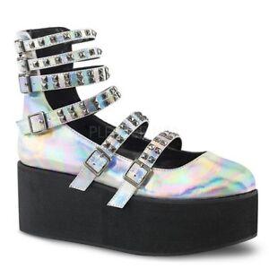 Demonia GRIP-31 Women's Silver Hologram Vegan Leather Platform Mary Jane Shoes
