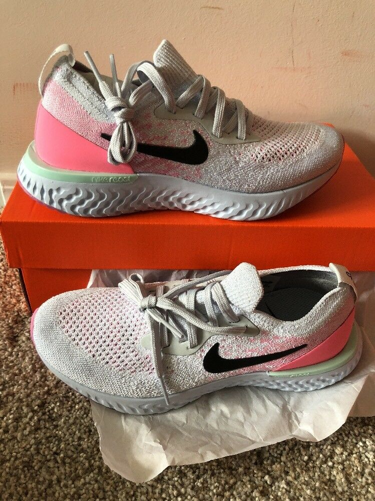 f61c53bb8df7d WOMEN S NIKE EPIC REACT FLYKNIT SHOES PURE PLATINUM PLATINUM PLATINUM  AQ0070-007 SIZE 5 998331