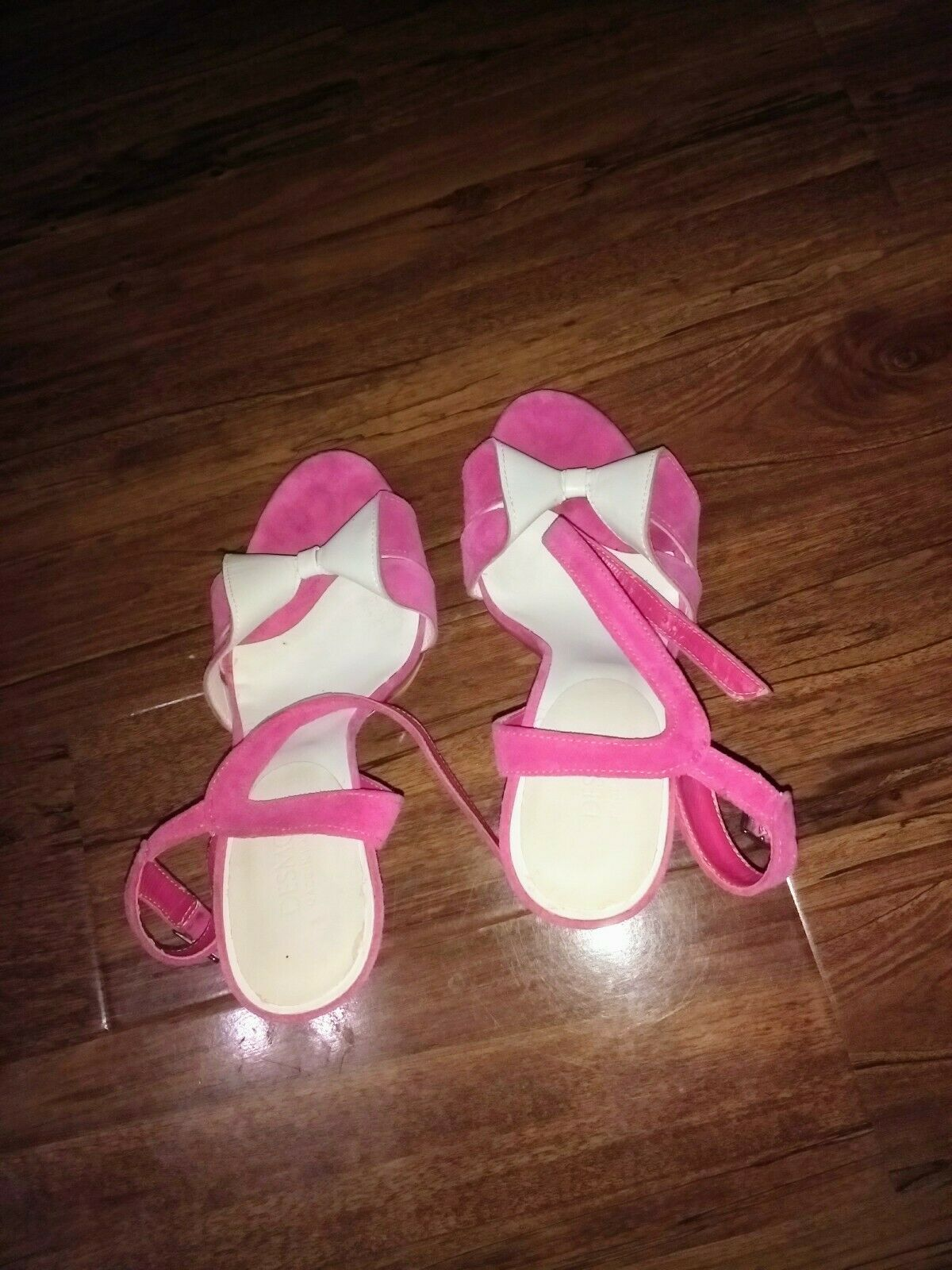Desmo Womens Sz 39 Pink And White Open Toe Slingback Leather And Suede Heels