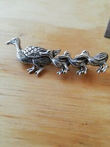 Solid-Silver-Ducks-Brooch-Stamped-925