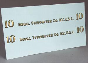 2 WATER SLIDE DECALS OF ROYAL 10 LOGO, LETTERS FOR TYPEWRITER RESTORATION