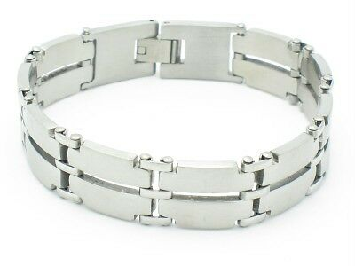PLATINUM STAINLESS STEEL OPEN LINK STYLE BRACELET NIB