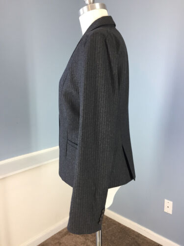 Eccellente Super Crew Grey Charocal 120's Career Casual Wool Pinstripe 10 Chalk J dHq0UYw0