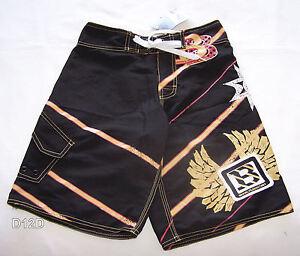Brooklyn-Industries-Boys-Black-Yardage-Design-Printed-Board-Shorts-Size-14-New