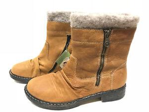 RIEKER Damen Boots Stiefel Schwarz Leder Lamm Wolle Gr.42