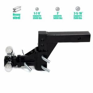 Triple-3-Ball-Adjustable-Swivel-Hitch-Mount-Tow-Trailer-Fits-2-034-Receiver-Adapter