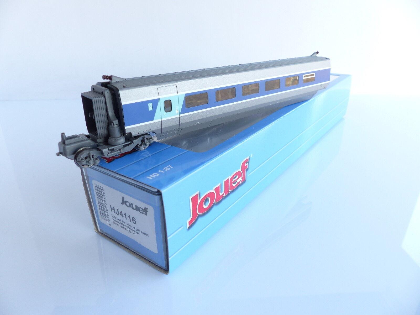 JOUEF HJ4116 VOITURE INTERMEDIAIRE 2E CLASSE TGV SUD-EST Blau ET grau METAL