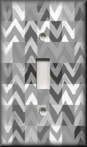 Abstract Art Metal Abstract Art Light Switch Plate Cover Grey Zig Zag Blocks