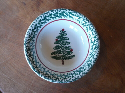 Furio Italy CHRISTMAS TREE FUO5 Set of 8 Soup Cereal Bowls Green Sponge 8 14""