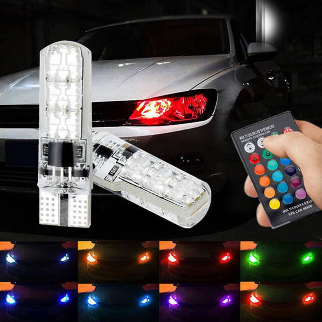 2x T10 6SMD 5050 RGB LED Car Wedge Side Light Reading Lamp Bulb & Remote Control