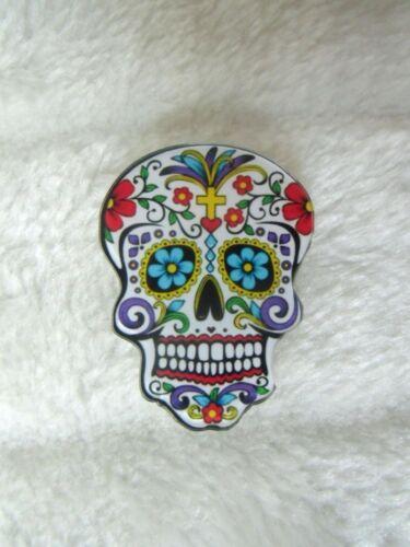 Broche crâne mexicain mexican skull croix tête mort original plastique acrylique