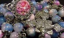 GORGEOUS DAINTY BLUE/PINK  NATURAL STONE ROSARY MADE WITH 8MM PERSIAN JADE