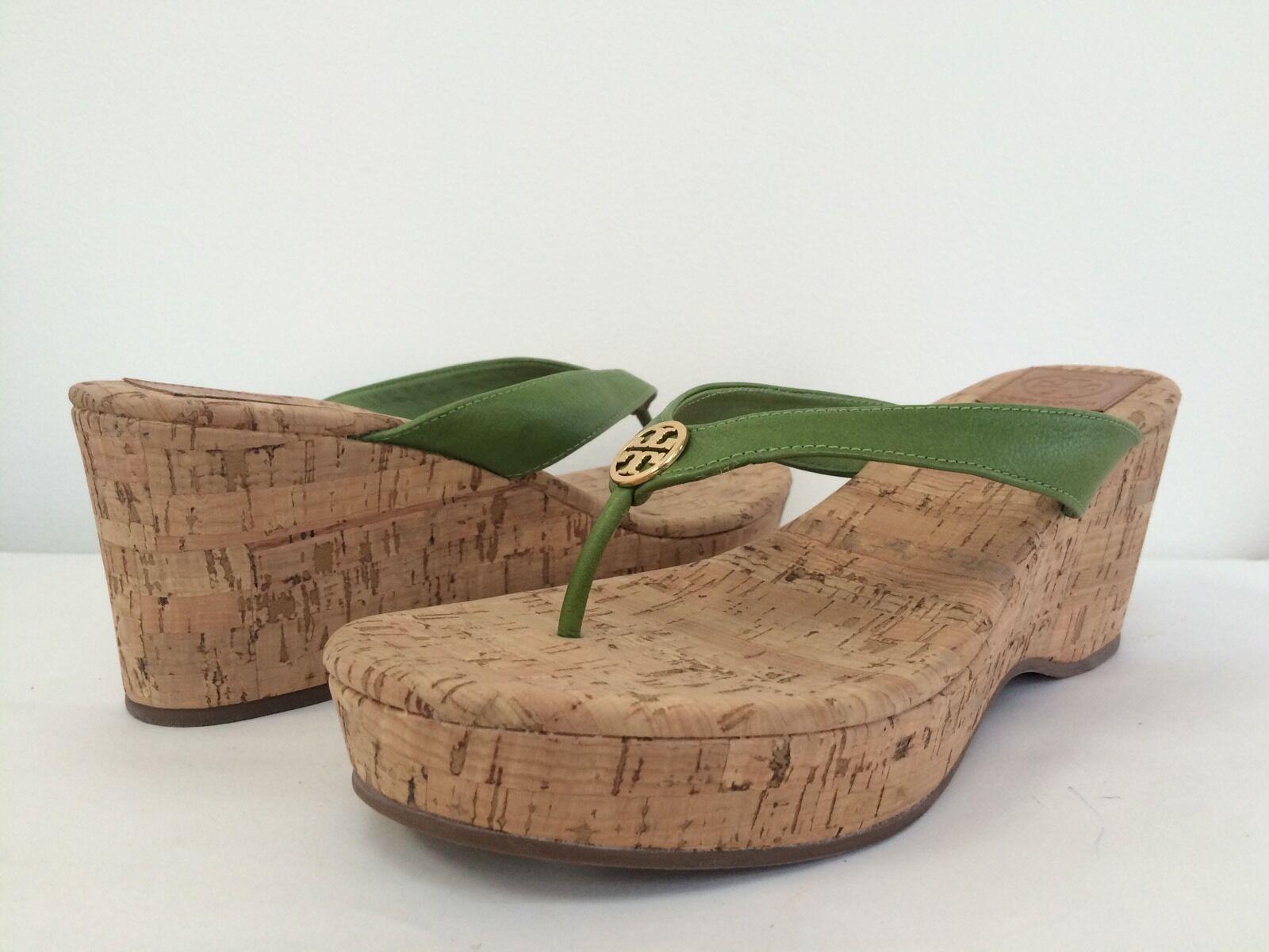 NEU Tory Burch 11M Reva Suzy Leaf Green Cork Wedge Thong Sandale Platform Tori