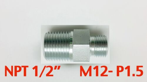 "Steel Adaptor NPT 1//2/"" Male to M12x1.5 Male Fittings HEX 22 L=43mm//1.7inch"