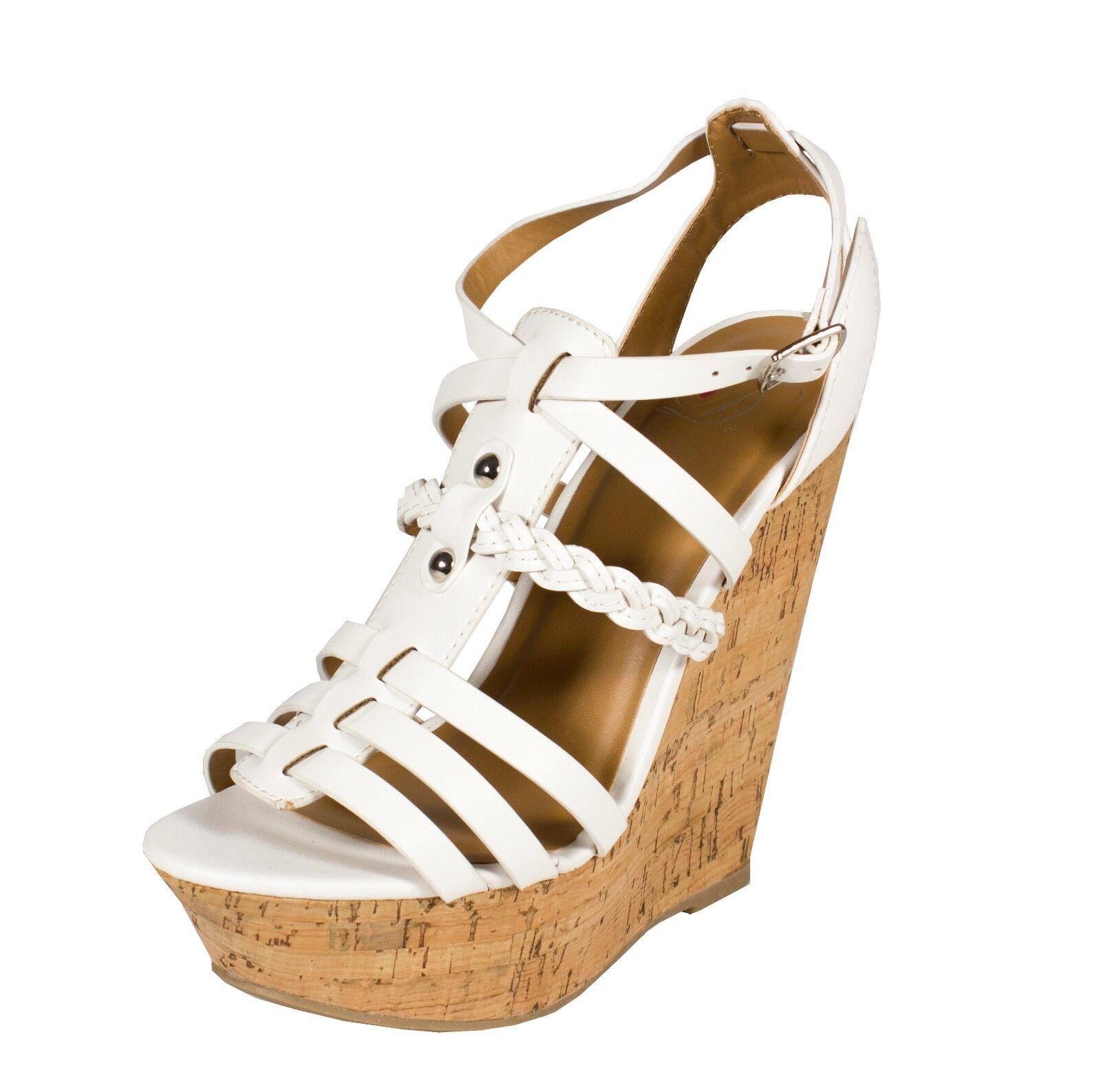 Spine! Delicious Peep Toe Strappy Platform Heel Wedge Sandal White White Sandal Leatherette f379c7