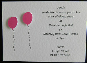 10 handmade personalised birthday invitations 18th 21st 30th 40th