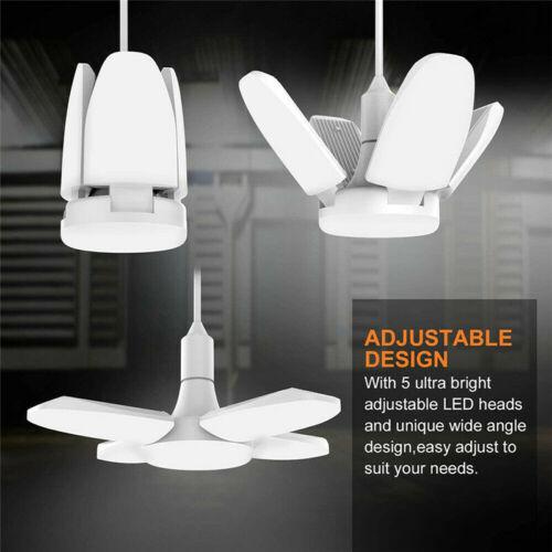 LED Garage Light Bulb 6500K Deformable Ceiling Fixture Lights Workshop Shop Lamp
