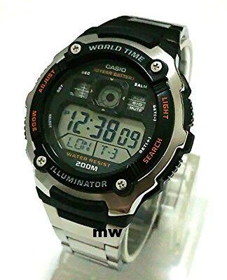 Authentic Casio AE-2000WD-1A Digital World Time Man's Sports Alarm Watch AE2000W