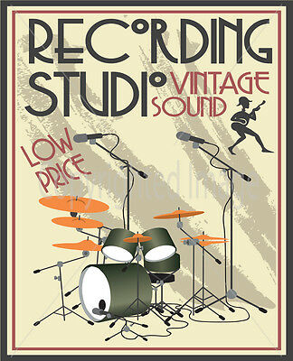 RECORDING STUDIO VINTAGE SOUND LARGE METAL TIN SIGN POSTER  RETRO  PLAQUE
