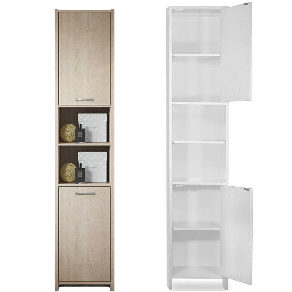 Bathroom Cabinet Tall Unit Free Standing Storage Shelves Bath Furniture Matt New