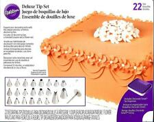 WILTON Cake Decorating DELUXE TIP Set w/ 22 Tips, CASE Coupler & Flower Nail NEW