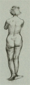 Peter Collins ARCA - Contemporary Pen and Ink Drawing, Nude Study XVI